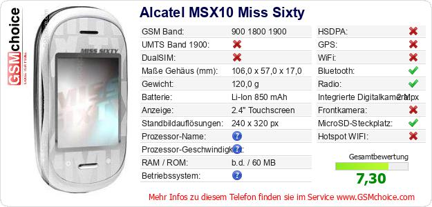 Alcatel MSX10 Miss Sixty technische Daten