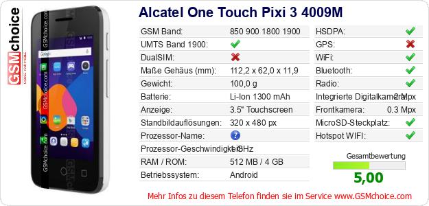 Alcatel One Touch Pixi 3 4009M technische Daten