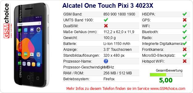 Alcatel One Touch Pixi 3 4023X technische Daten