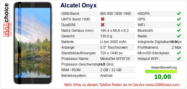 Alcatel Onyx technische Daten