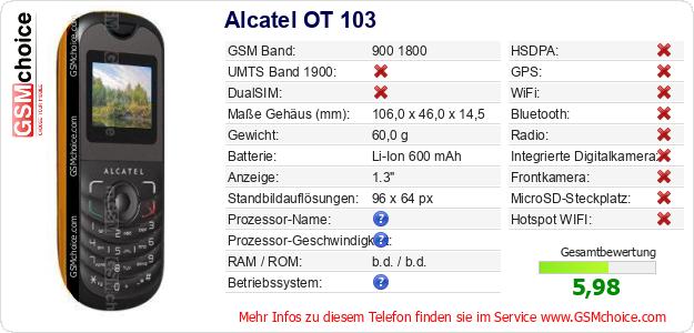 Alcatel OT 103 technische Daten