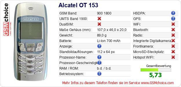Alcatel OT 153 technische Daten