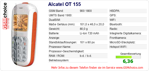 Alcatel OT 155 technische Daten