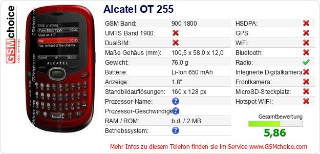 Alcatel OT 255 technische Daten