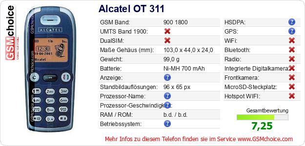 Alcatel OT 311 technische Daten