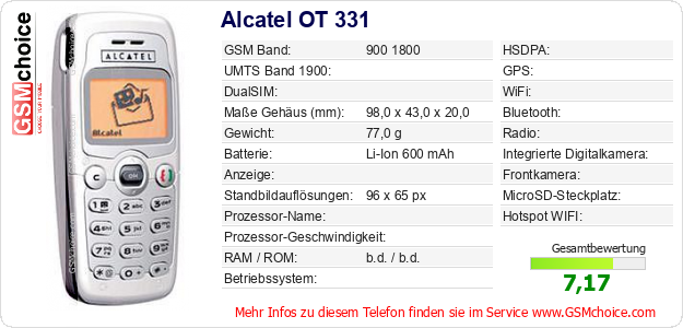 Alcatel OT 331 technische Daten