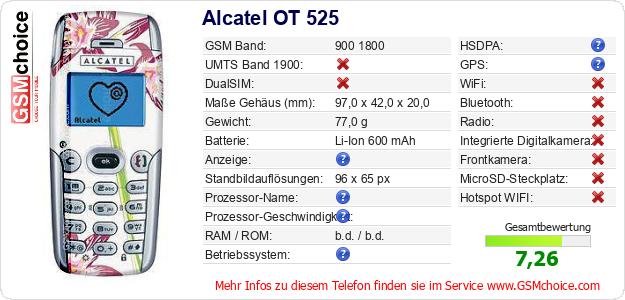Alcatel OT 525 technische Daten