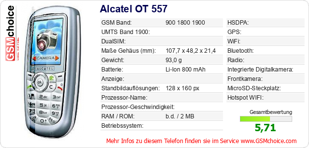 Alcatel OT 557 technische Daten
