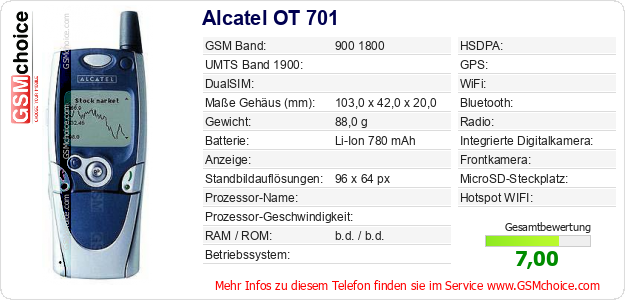 Alcatel OT 701 technische Daten