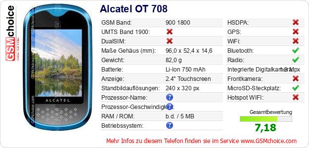 Alcatel OT 708 technische Daten