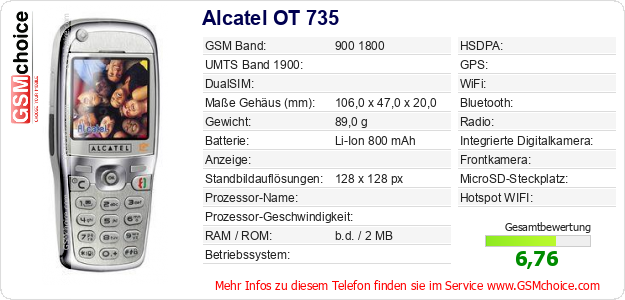 Alcatel OT 735 technische Daten