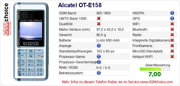 Alcatel OT-E158 technische Daten