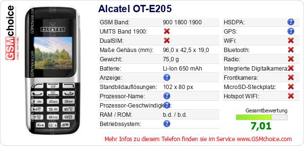 Alcatel OT-E205 technische Daten