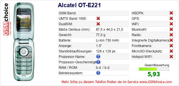 Alcatel OT-E221 technische Daten
