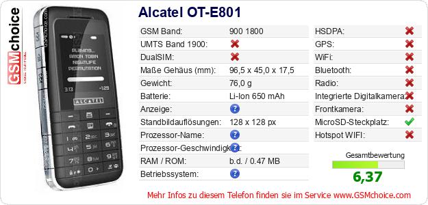 Alcatel OT-E801 technische Daten