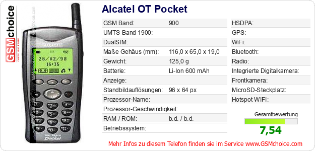 Alcatel OT Pocket technische Daten
