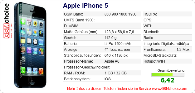 Apple iPhone 5 technische Daten