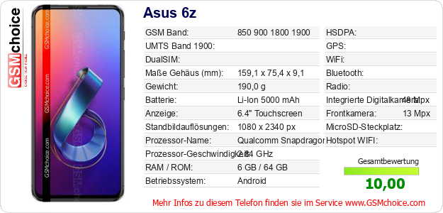 Asus 6z technische Daten