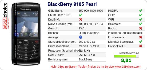 BlackBerry 9105 Pearl technische Daten