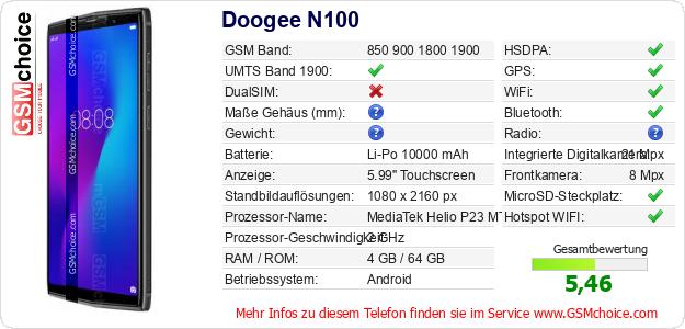 Doogee N100 technische Daten