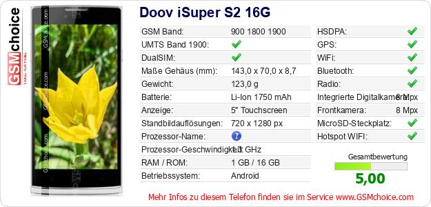 Doov iSuper S2 16G technische Daten