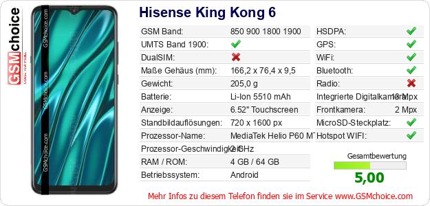 Hisense King Kong 6 technische Daten