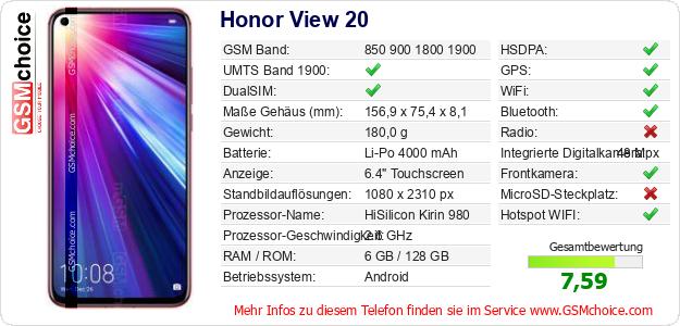 Honor View 20 technische Daten