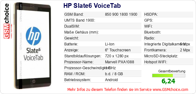 HP Slate6 VoiceTab technische Daten