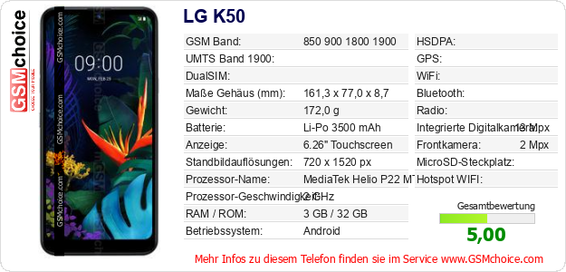 LG K50 technische Daten