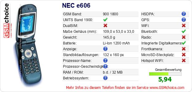 NEC e606 technische Daten