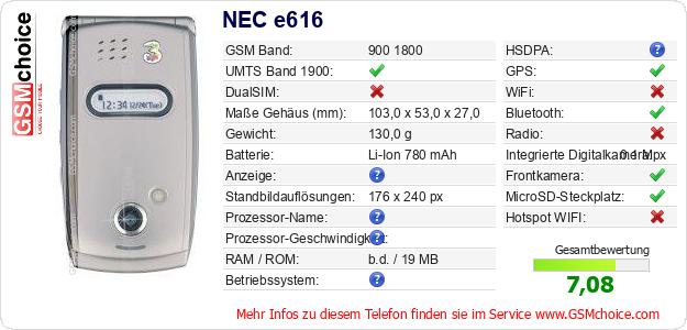 NEC e616 technische Daten