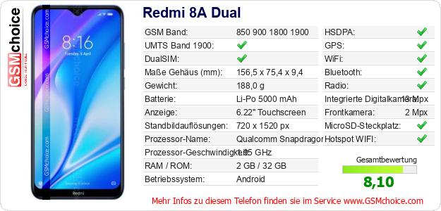 Redmi 8A Dual technische Daten