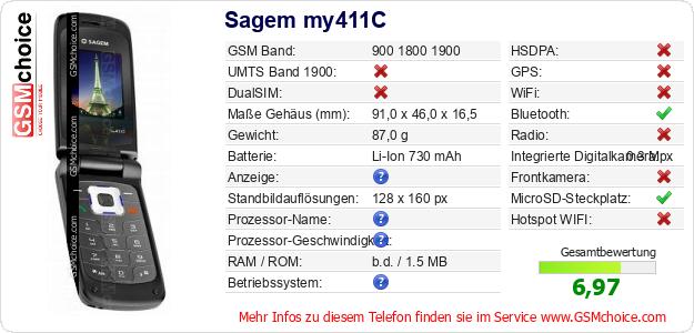 Sagem my411C technische Daten