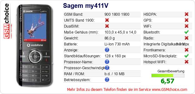 Sagem my411V technische Daten