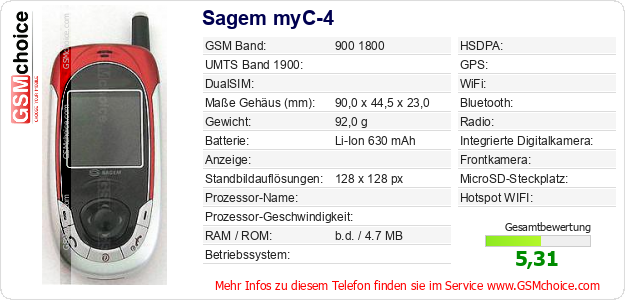 Sagem myC-4 technische Daten
