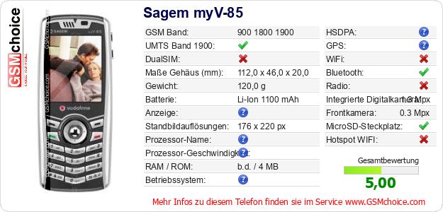 Sagem myV-85 technische Daten