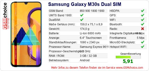 Samsung Galaxy M30s Dual SIM technische Daten