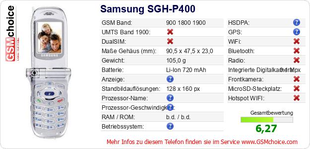 Samsung SGH-P400 technische Daten