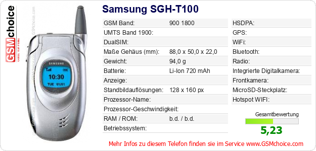 Samsung SGH-T100 technische Daten