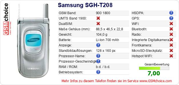 Samsung SGH-T208 technische Daten