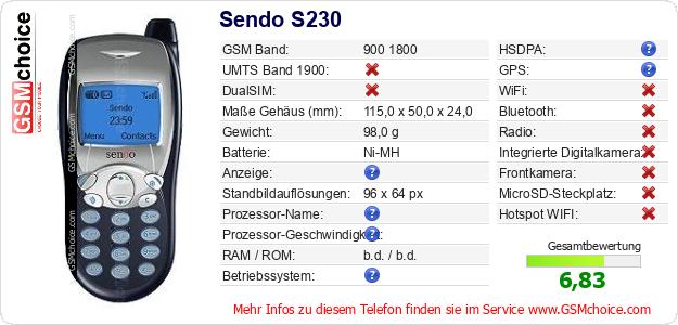 Sendo S230 technische Daten