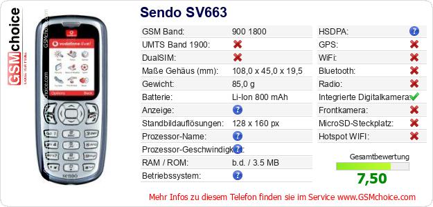 Sendo SV663 technische Daten