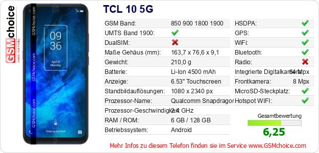 TCL 10 5G technische Daten