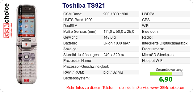 Toshiba TS921 technische Daten