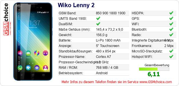 Wiko Lenny 2 technische Daten