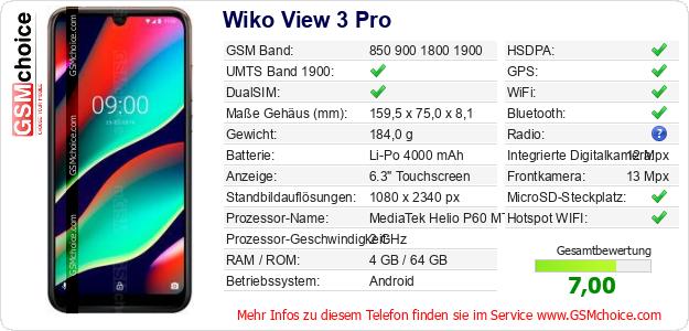 Wiko View 3 Pro technische Daten