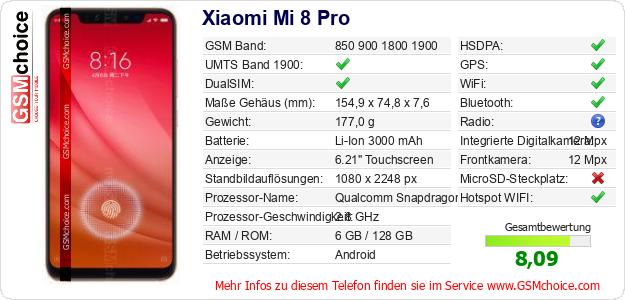 Xiaomi Mi 8 Pro technische Daten