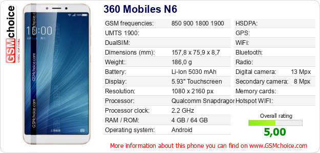 360 Mobiles N6 technical specifications