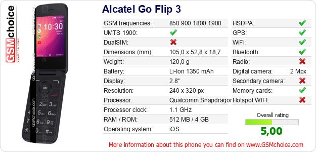 Alcatel Go Flip 3 technical specifications