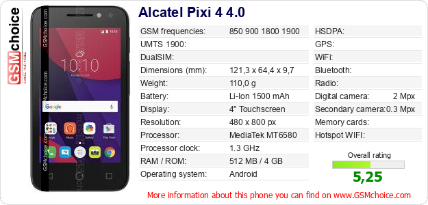 Alcatel Pixi 4 4.0 technical specifications